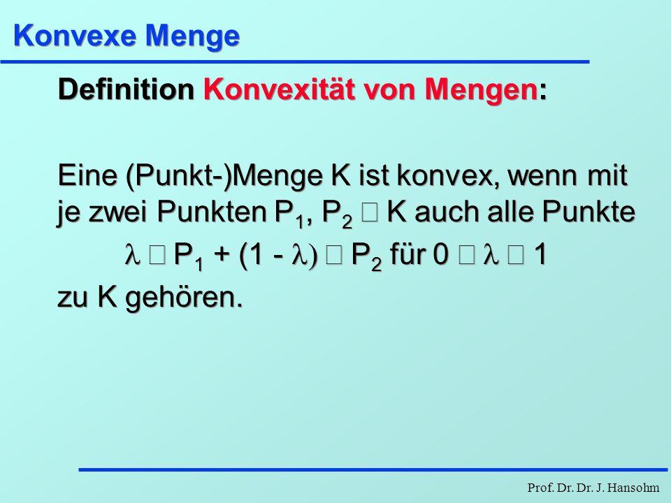 Prof. Dr. Dr. J. Hansohm Konvexe Menge Definition Konvexität von Mengen: Eine (Punkt-)Menge K ist konvex, wenn mit je zwei Punkten P 1, P 2  K auch