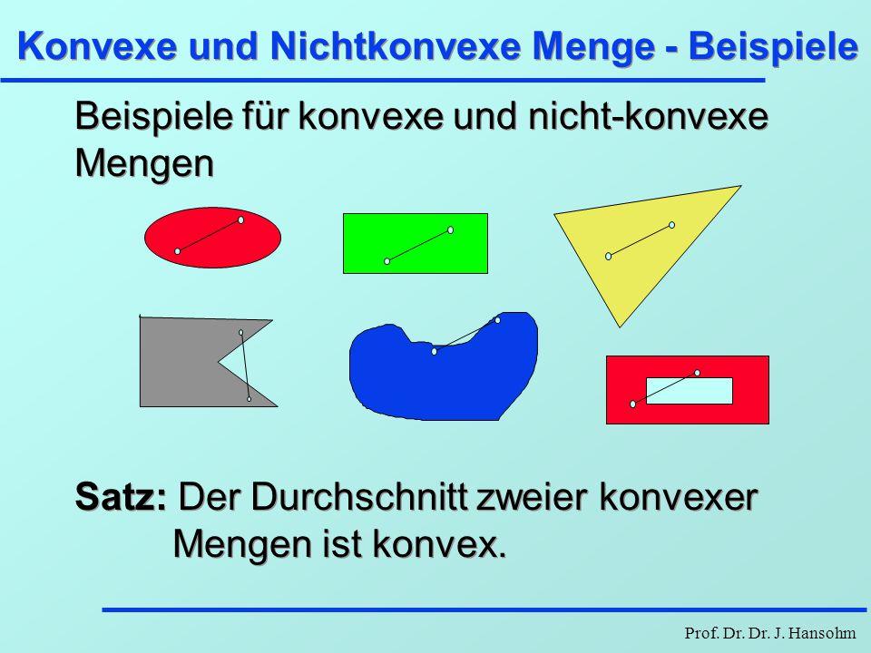 Prof. Dr. Dr. J. Hansohm Konvexe und Nichtkonvexe Menge - Beispiele Beispiele für konvexe und nicht-konvexe Mengen Satz: Der Durchschnitt zweier konve