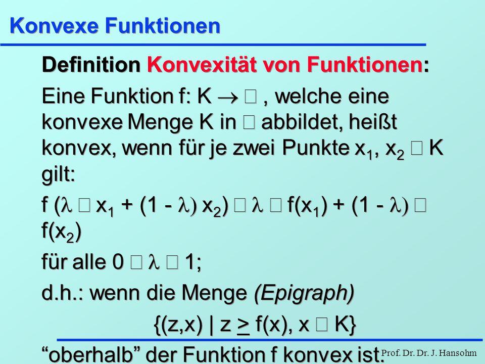 Prof. Dr. Dr. J. Hansohm Konvexe Funktionen Definition Konvexität von Funktionen: Eine Funktion f: K , welche eine konvexe Menge K in  abbildet, h