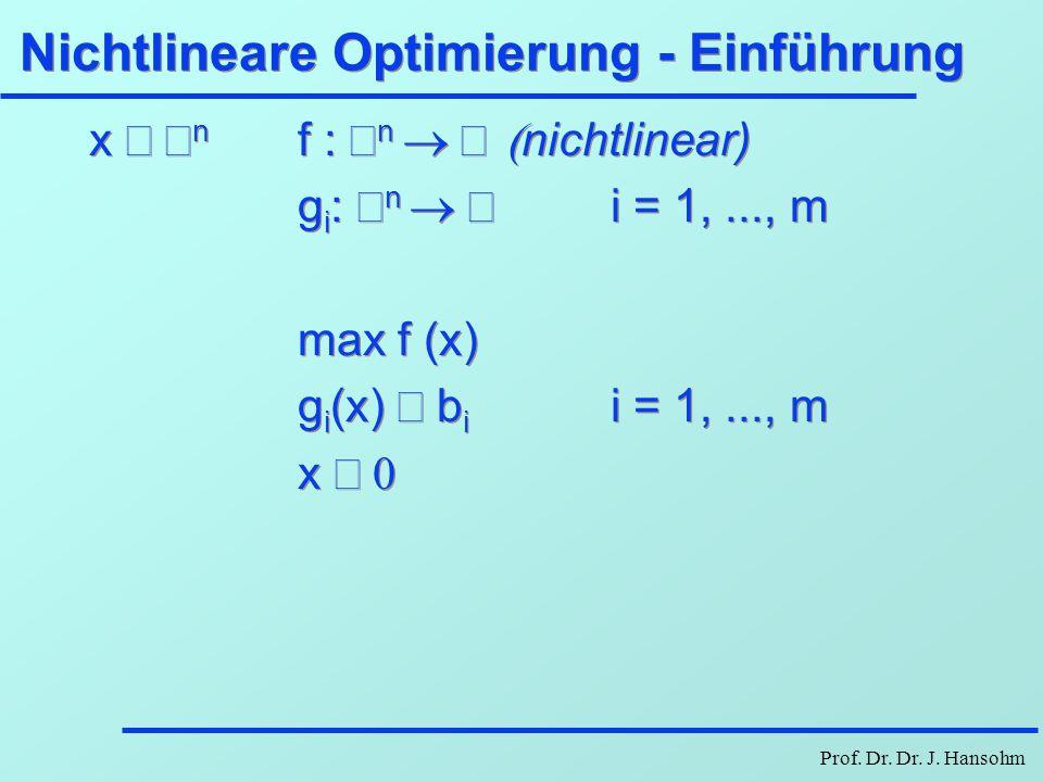Prof. Dr. Dr. J. Hansohm Nichtlineare Optimierung - Einführung x  n f :  n  nichtlinear) g i :  n  i = 1,..., m max f (x) g i (x)  b i