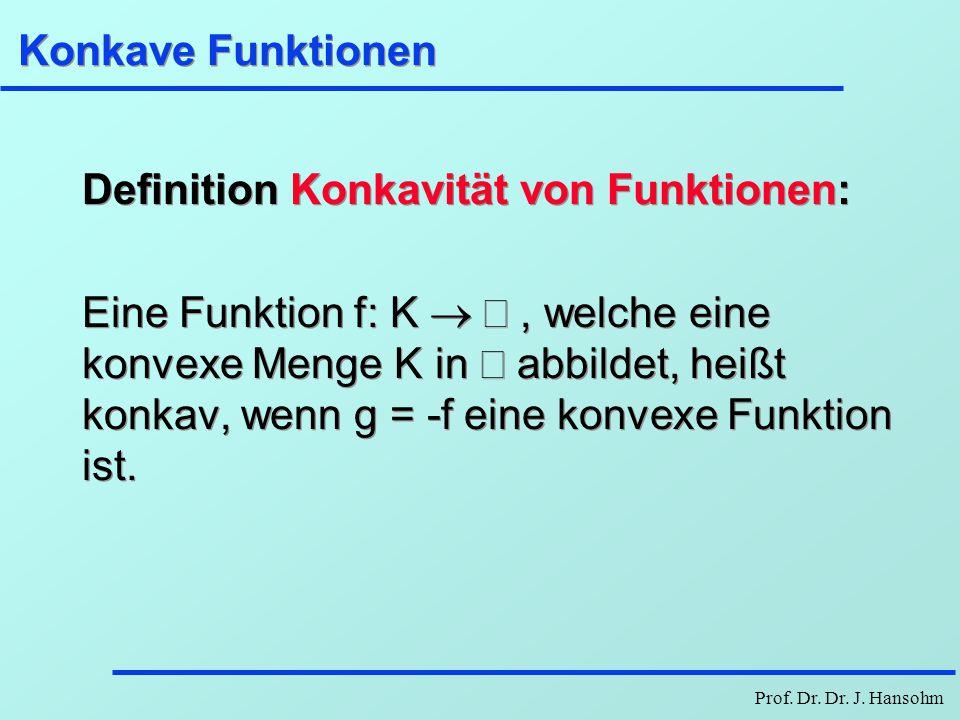 Prof. Dr. Dr. J. Hansohm Konkave Funktionen Definition Konkavität von Funktionen: Eine Funktion f: K , welche eine konvexe Menge K in  abbildet, h
