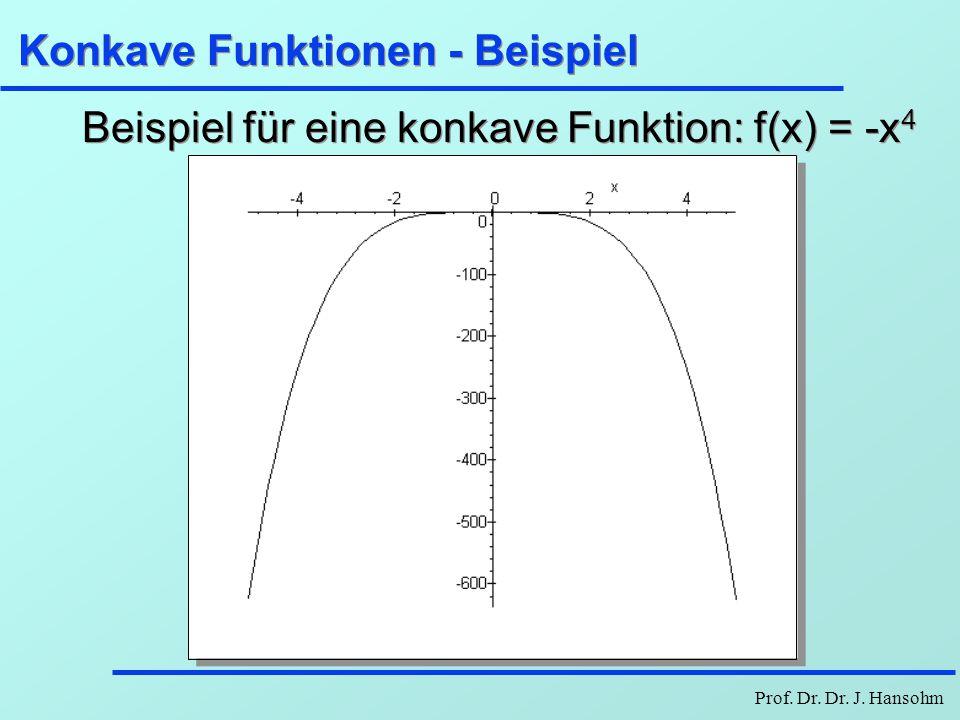Prof. Dr. Dr. J. Hansohm Konkave Funktionen - Beispiel Beispiel für eine konkave Funktion: f(x) = -x 4