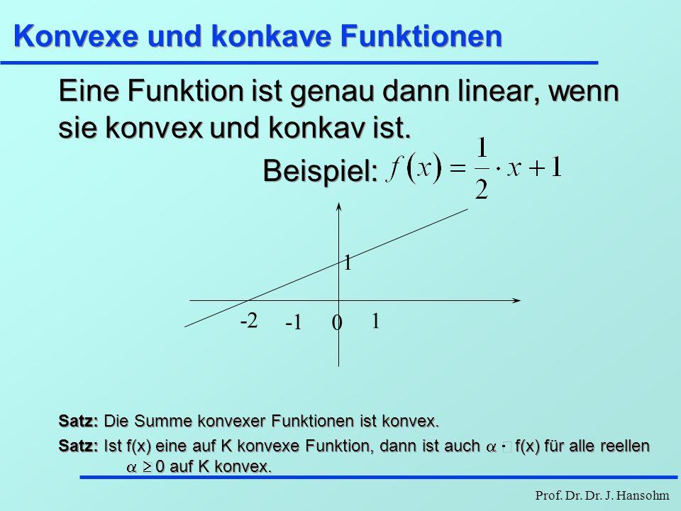Prof. Dr. Dr. J. Hansohm Konvexe und konkave Funktionen Eine Funktion ist genau dann linear, wenn sie konvex und konkav ist. Beispiel: Satz: Die Summe