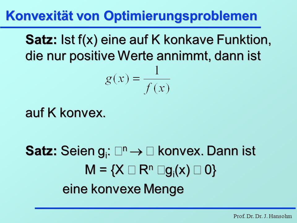 Prof. Dr. Dr. J. Hansohm Konvexität von Optimierungsproblemen Satz: Ist f(x) eine auf K konkave Funktion, die nur positive Werte annimmt, dann ist auf