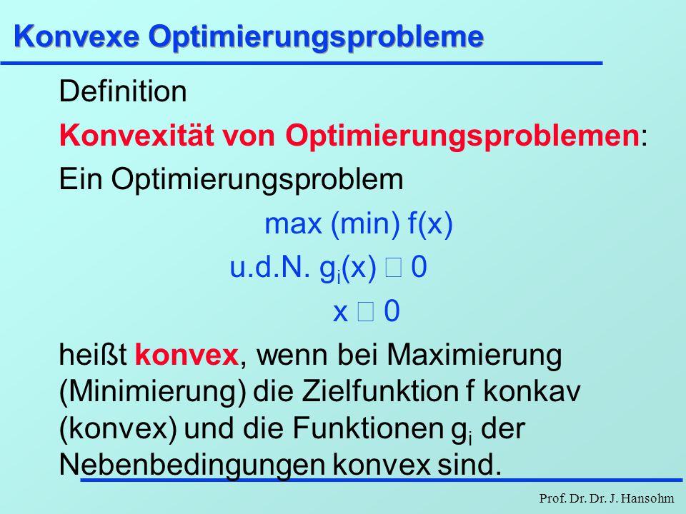 Prof. Dr. Dr. J. Hansohm Konvexe Optimierungsprobleme Definition Konvexität von Optimierungsproblemen: Ein Optimierungsproblem max (min) f(x) u.d.N. g