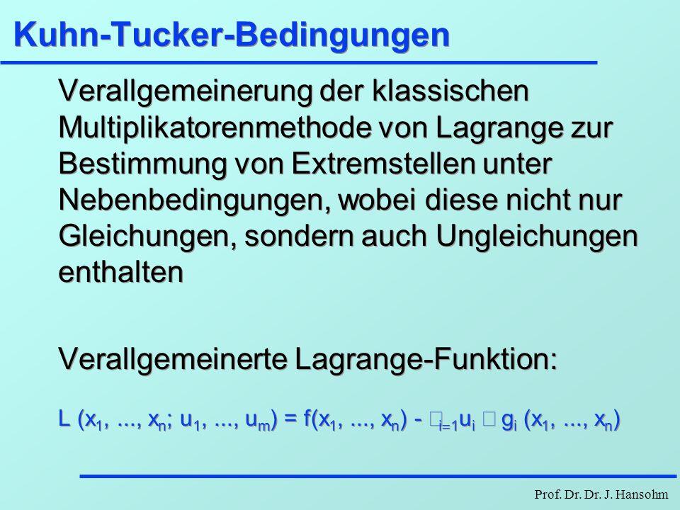 Prof. Dr. Dr. J. Hansohm Kuhn-Tucker-Bedingungen Verallgemeinerung der klassischen Multiplikatorenmethode von Lagrange zur Bestimmung von Extremstelle