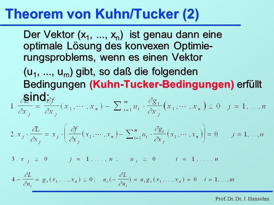 Prof. Dr. Dr. J. Hansohm Theorem von Kuhn/Tucker (2) Der Vektor (x 1,..., x n ) ist genau dann eine optimale Lösung des konvexen Optimie- rungsproblem