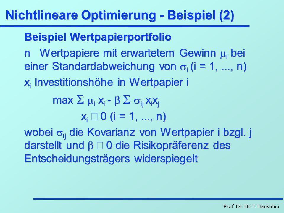 Prof. Dr. Dr. J. Hansohm Nichtlineare Optimierung - Beispiel (2) Beispiel Wertpapierportfolio n Wertpapiere mit erwartetem Gewinn  i bei einer Standa
