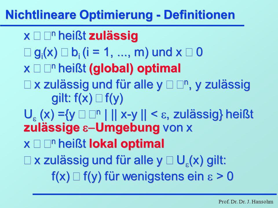 Prof. Dr. Dr. J. Hansohm Nichtlineare Optimierung - Definitionen x  n heißt zulässig  g i (x)  b i (i = 1,..., m) und x  0 x  n heißt (glo
