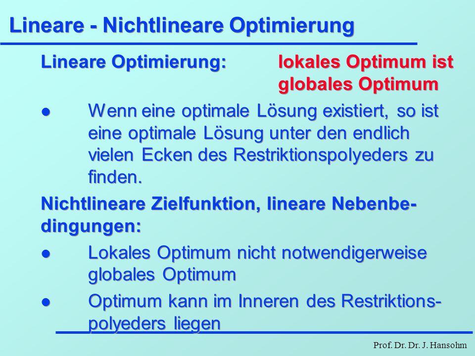Prof. Dr. Dr. J. Hansohm Lineare - Nichtlineare Optimierung Lineare Optimierung: lokales Optimum ist globales Optimum l Wenn eine optimale Lösung exis