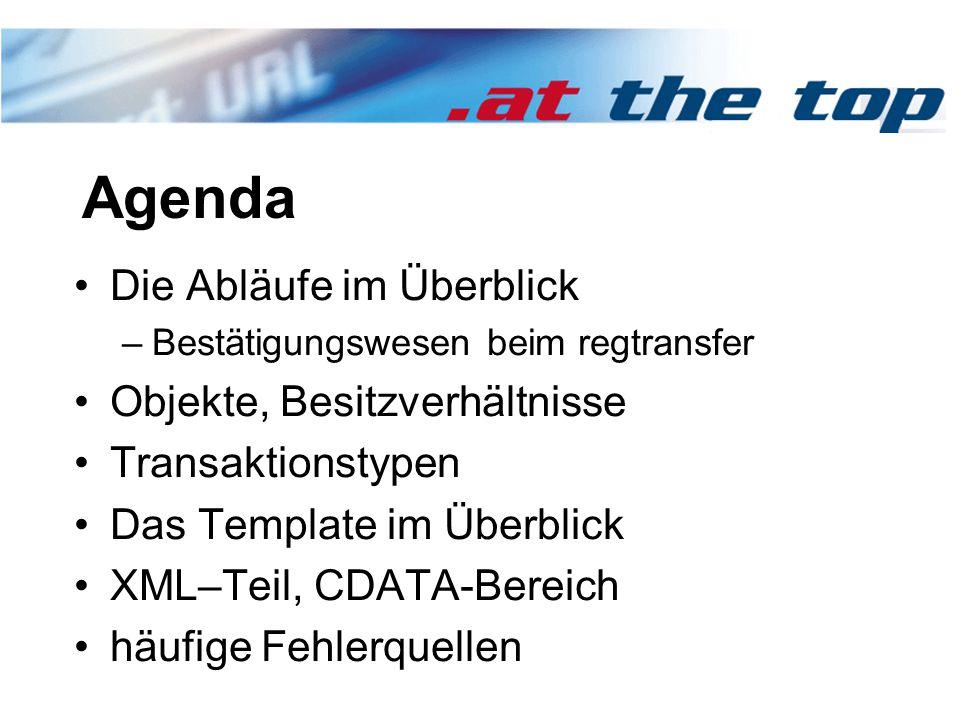 Agenda Die Abläufe im Überblick –Bestätigungswesen beim regtransfer Objekte, Besitzverhältnisse Transaktionstypen Das Template im Überblick XML–Teil, CDATA-Bereich häufige Fehlerquellen