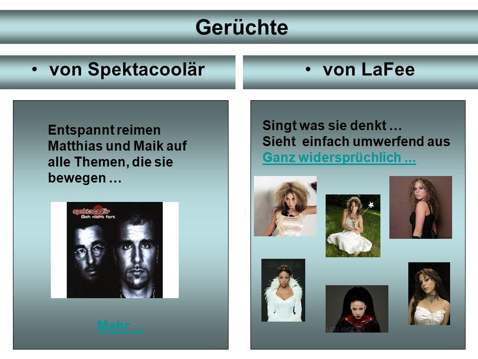Der musikalische Stil von Spektacoolärvon LaFee kombiniert PopPopmusik mit RockanleihenRock und Hip Hop-Elemente.Hip Hop vereint Hip Hop mit Sprechgesang:Hip Hop Sprechgesang Sprechen (Matthias) Singen (Maik).