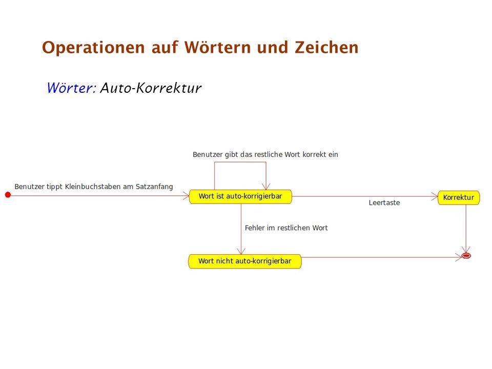 Operationen auf Wörtern und Zeichen Zeichen: Auto-Format: Bspw.: (c) wird zu © etc.