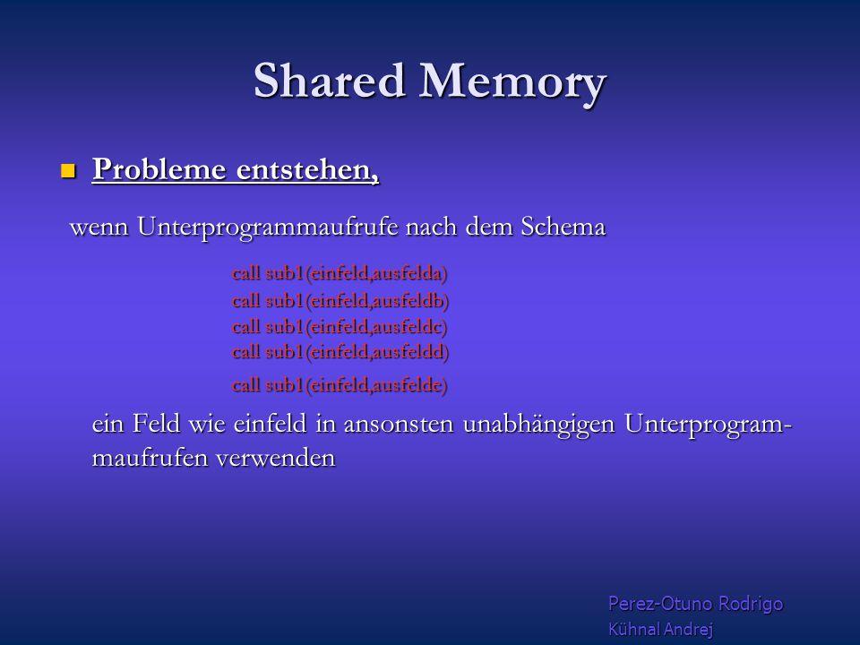 Shared Memory Grundlagen Allerdings verfügt jeder Prozessor zumindest über einen eigenen Cache Allerdings verfügt jeder Prozessor zumindest über einen eigenen Cache Shared Memory ist nur bei Bus--basierten Systemen und bei Cross--Bar anwendbar Shared Memory ist nur bei Bus--basierten Systemen und bei Cross--Bar anwendbar Inter--Prozessor-Kommunikation erfolgt über den Hauptspeicher selber oder spezielle Kommunikationsregister Inter--Prozessor-Kommunikation erfolgt über den Hauptspeicher selber oder spezielle Kommunikationsregister Perez-Otuno Rodrigo Kühnal Andrej