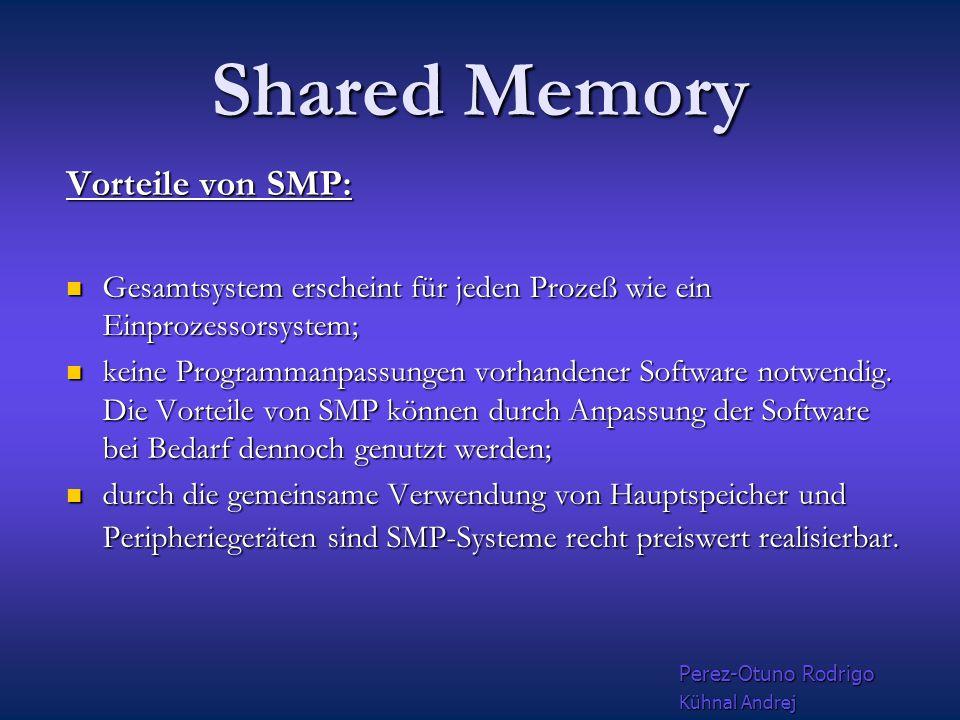 Shared Memory Probleme entstehen, Probleme entstehen, wenn Unterprogrammaufrufe nach dem Schema wenn Unterprogrammaufrufe nach dem Schema call sub1(einfeld,ausfelda) call sub1(einfeld,ausfeldb) call sub1(einfeld,ausfeldc) call sub1(einfeld,ausfeldd) call sub1(einfeld,ausfelde) ein Feld wie einfeld in ansonsten unabhängigen Unterprogram- maufrufen verwenden Perez-Otuno Rodrigo Kühnal Andrej
