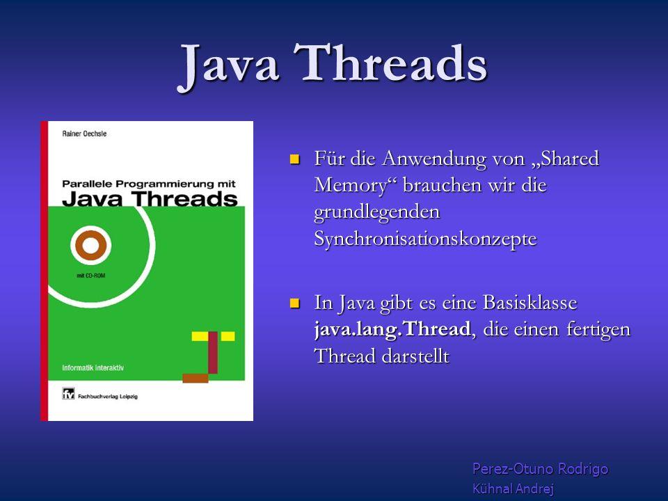 "Threads Beispiele ""Parallele Programmierung"" mit Java threads mit Java threads Mit Threads++ Mit Threads++ Shared Memory interface Open MP Open MP Win"