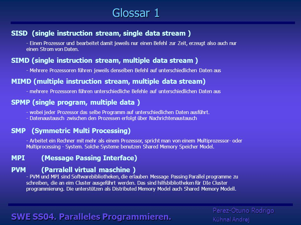 netzwerk SWE SS04. Paralleles Programmieren. …………..