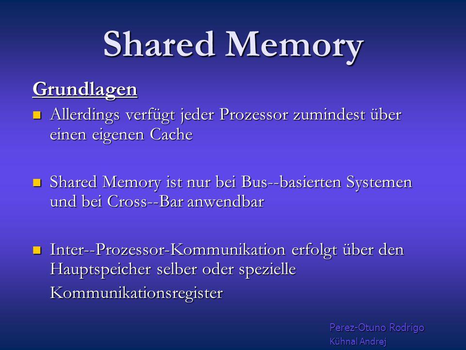 Shared Memory Basis konzepte Beim verteiltem Speicher ( distributed memory) ist jedem Prozessor ein Teil des Speichers zugeordnet Beim verteiltem Speicher ( distributed memory) ist jedem Prozessor ein Teil des Speichers zugeordnet Beim Konzept des gemeinsamen Speichers ( shared memory)greifen alle Prozessoren auf denselben Speicher zu Beim Konzept des gemeinsamen Speichers ( shared memory)greifen alle Prozessoren auf denselben Speicher zu Klassischen Shared Memory Parallelisierung versucht das Betriebssystem, mehrere Programmteile auf verschiedenen Prozessoren gleichzeitig abzurabeiten Klassischen Shared Memory Parallelisierung versucht das Betriebssystem, mehrere Programmteile auf verschiedenen Prozessoren gleichzeitig abzurabeiten Perez-Otuno Rodrigo Kühnal Andrej