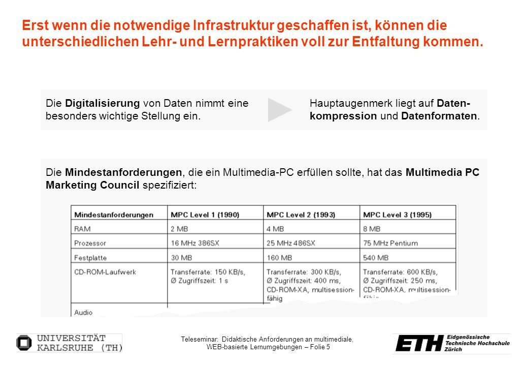 Teleseminar: Didaktische Anforderungen an multimediale, WEB-basierte Lernumgebungen – Folie 5 Erst wenn die notwendige Infrastruktur geschaffen ist, k