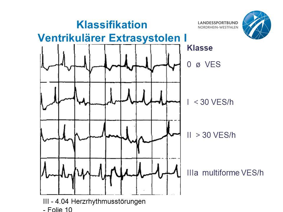 III - 4.04 Herzrhythmusstörungen - Folie 11 Klassifikation Ventrikulärer Extrasystolen II IIIb Bigeminus IVa Couplet Klasse IVb Salve V R/T-VES