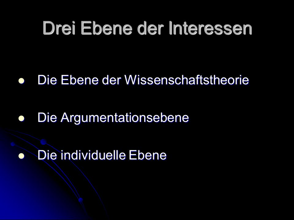 Drei Ebene der Interessen Die Ebene der Wissenschaftstheorie Die Ebene der Wissenschaftstheorie Die Argumentationsebene Die Argumentationsebene Die individuelle Ebene Die individuelle Ebene