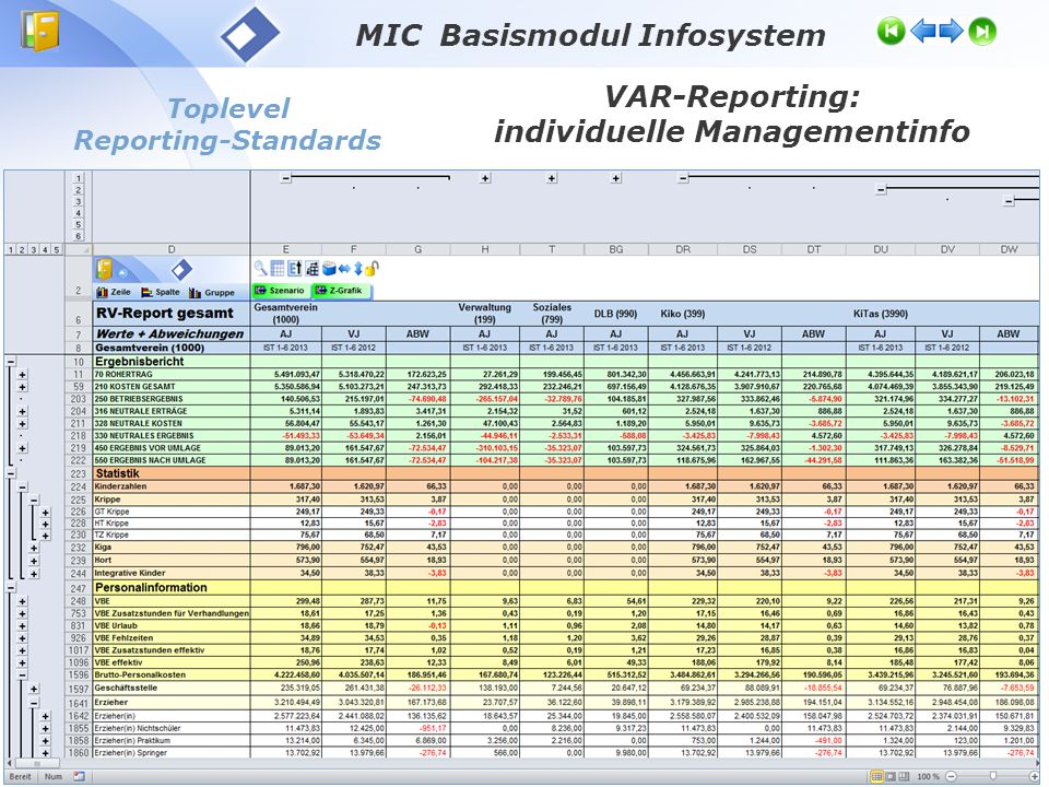 Toplevel Reporting-Standards VAR-Reporting: individuelle Managementinfo MIC Basismodul Infosystem