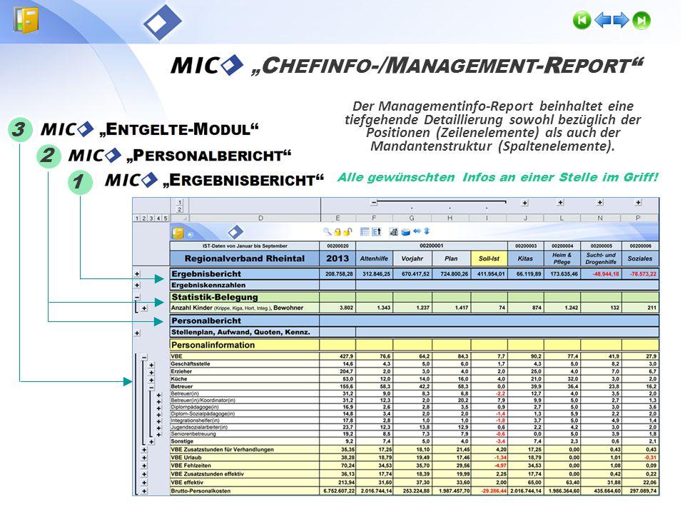 Der Managementinfo-Report fasst die Standardberichte mit den individuell angepassten Ergebnis-, Personal- und Entgelte- Auswertungen in einem zentrale