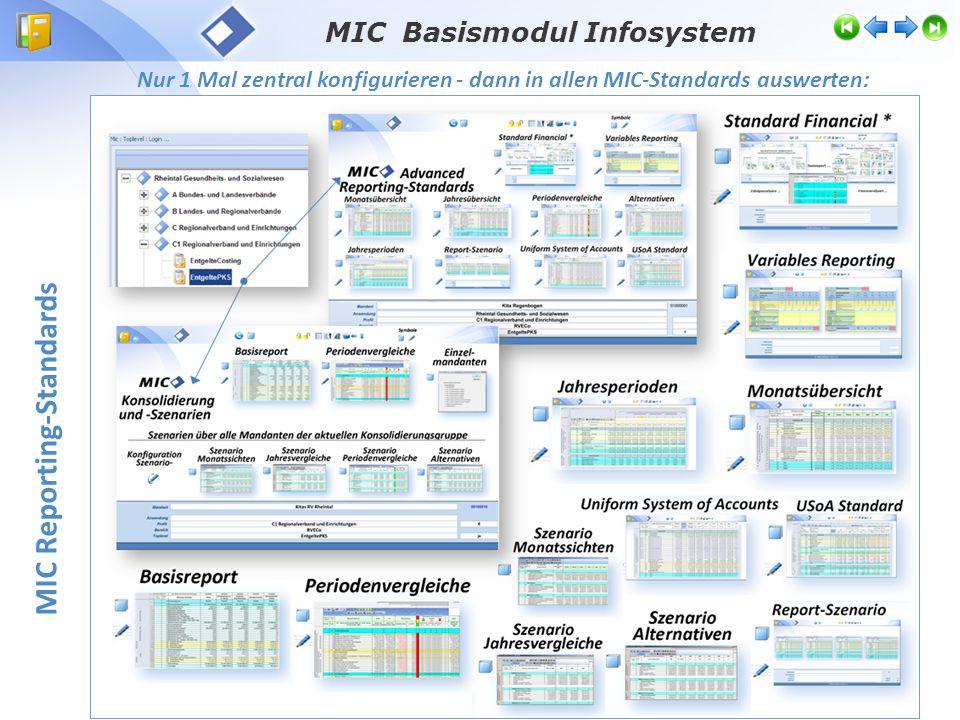MIC Basismodul Infosystem Toplevel Reporting-Standards Zentrales Report- Auswahl- und Steuermenü