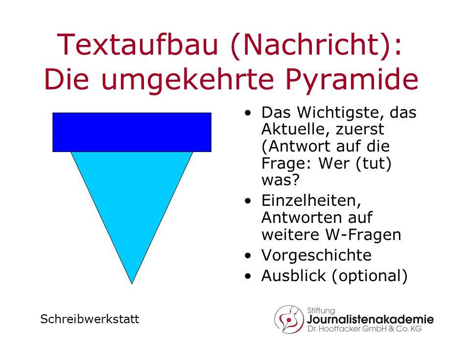 Schreibwerkstatt Textaufbau (Nachricht): Die umgekehrte Pyramide Das Wichtigste, das Aktuelle, zuerst (Antwort auf die Frage: Wer (tut) was? Einzelhei