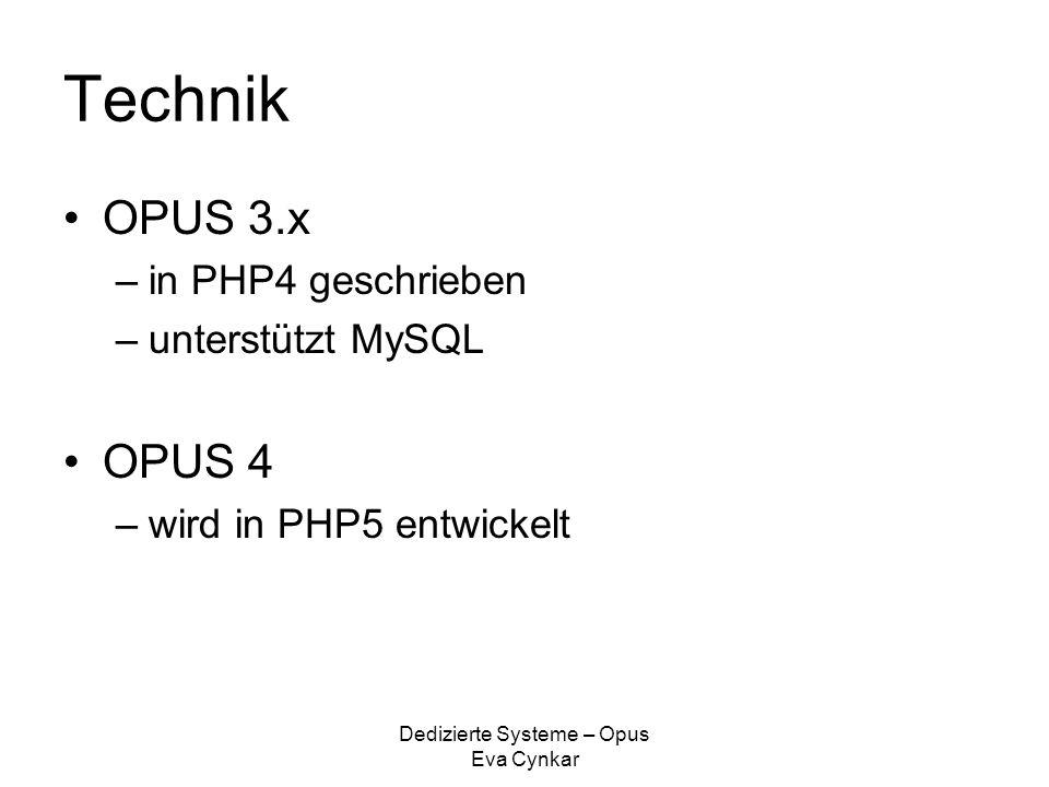"""Dedizierte Systeme – Opus Eva Cynkar Funktionen : Opus… verwaltet beliebige Objekte und Formate und versieht sie mit Metadaten unterstützt """"Uniform Ressource Names (URN; persistente Identifikation) richtet unterschiedliche Nutzungslizenzen für Objekte ein unterstützt das OAI-PMH 2.0 Protokoll unterstützt das Format XMetaDiss unterstüzt das Format XMetaDissPlus unterstützt """"Print on Demand Sichert die Authentizität der Dokumente (Datenintegrität)"""