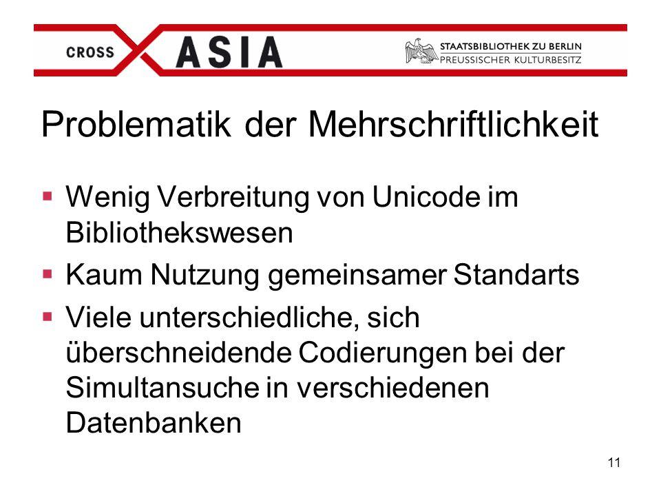 11 Problematik der Mehrschriftlichkeit  Wenig Verbreitung von Unicode im Bibliothekswesen  Kaum Nutzung gemeinsamer Standarts  Viele unterschiedlic