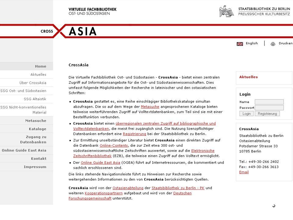 4 Module  Metasuche  OGEA - Online Guide East Asia  Online Contents-Datenbanken  Überregionaler Zugang zu lizenzpflichtigen asiatischen Datenbanken
