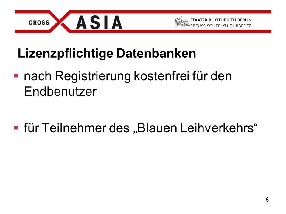 """8 Lizenzpflichtige Datenbanken  nach Registrierung kostenfrei für den Endbenutzer  für Teilnehmer des """"Blauen Leihverkehrs"""""""