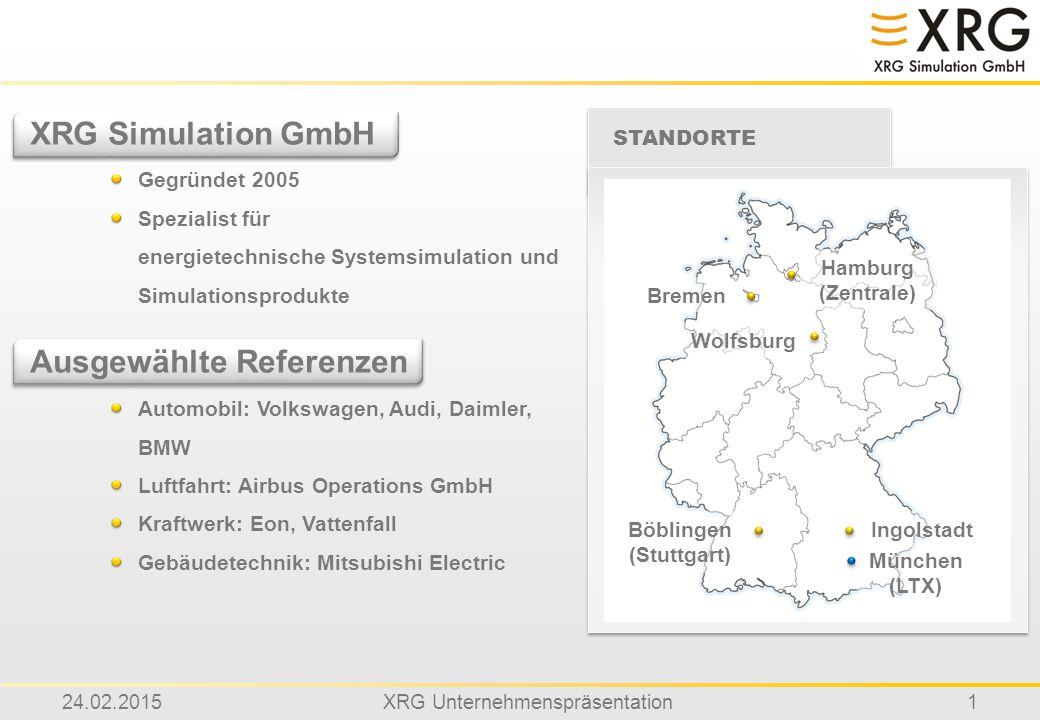 24.02.2015XRG Unternehmenspräsentation1 XRG Simulation GmbH Gegründet 2005 Spezialist für energietechnische Systemsimulation und Simulationsprodukte A
