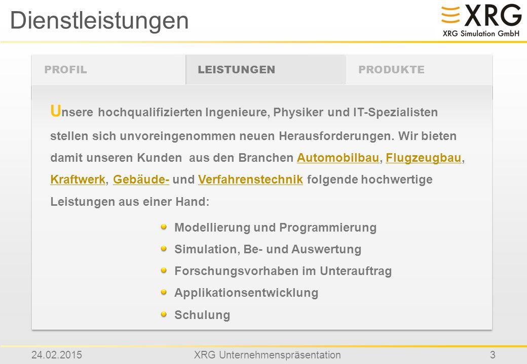 24.02.2015XRG Unternehmenspräsentation3 Dienstleistungen PROFIL U nsere hochqualifizierten Ingenieure, Physiker und IT-Spezialisten stellen sich unvor