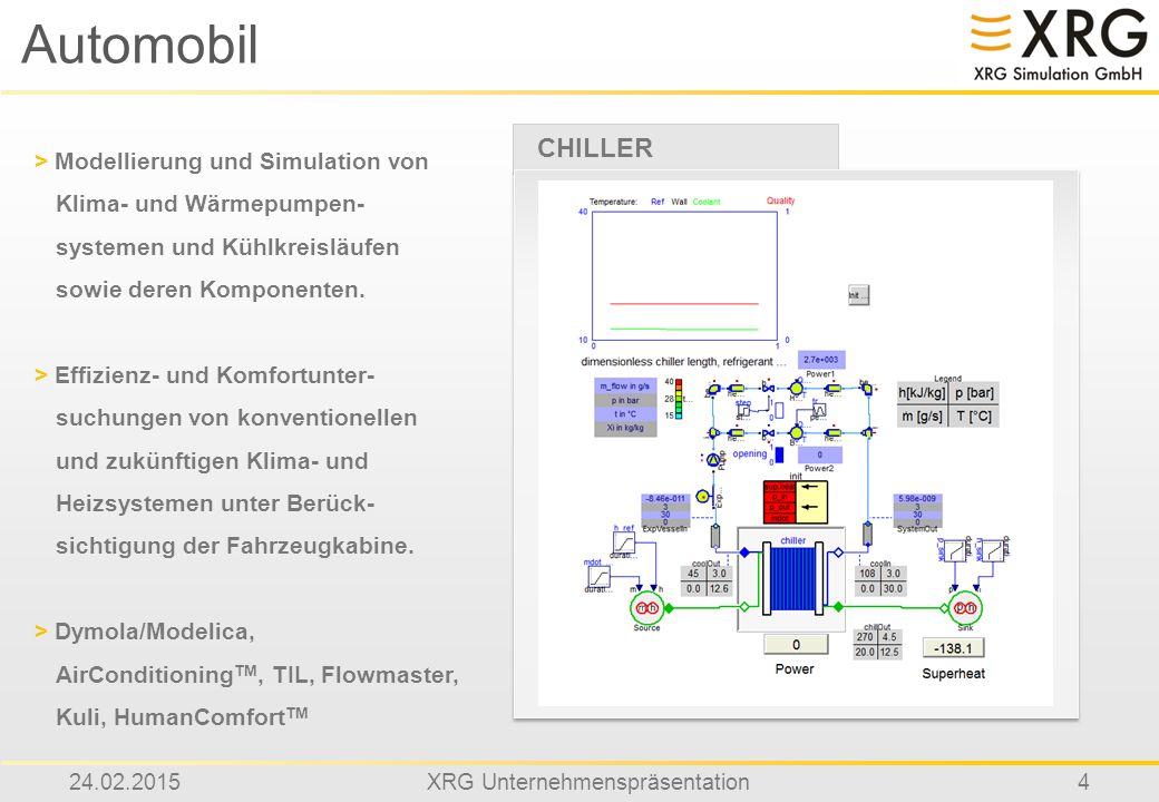 24.02.2015XRG Unternehmenspräsentation4 Automobil CHILLER > Modellierung und Simulation von Klima- und Wärmepumpen- systemen und Kühlkreisläufen sowie