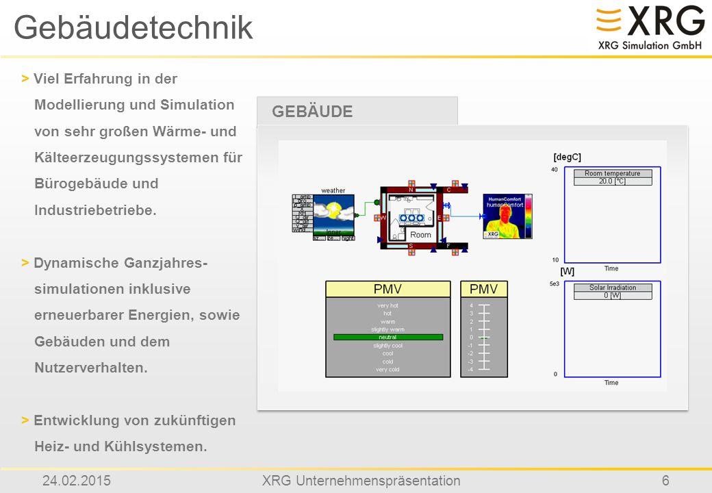 24.02.2015XRG Unternehmenspräsentation6 Gebäudetechnik GEBÄUDE > Viel Erfahrung in der Modellierung und Simulation von sehr großen Wärme- und Kälteerz