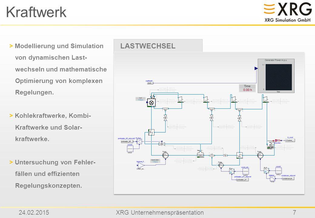 24.02.2015XRG Unternehmenspräsentation7 Kraftwerk LASTWECHSEL > Modellierung und Simulation von dynamischen Last- wechseln und mathematische Optimieru