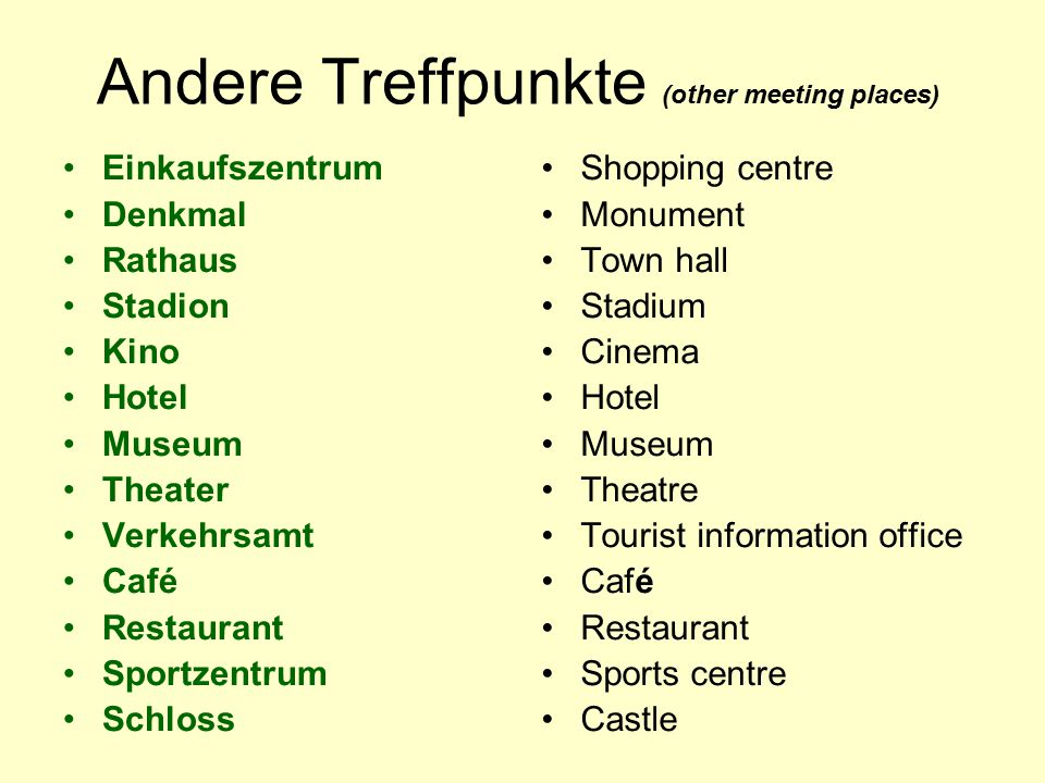 Andere Treffpunkte (other meeting places) Einkaufszentrum Denkmal Rathaus Stadion Kino Hotel Museum Theater Verkehrsamt Café Restaurant Sportzentrum Schloss Shopping centre Monument Town hall Stadium Cinema Hotel Museum Theatre Tourist information office Café Restaurant Sports centre Castle