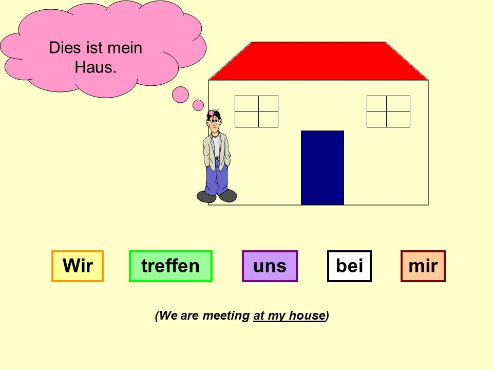 Dies ist mein Haus. beiWirtreffenunsmir (We are meeting at my house)