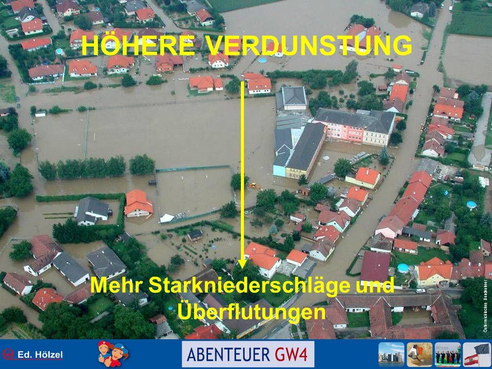Österreichisches Bundesheer HÖHERE VERDUNSTUNG Mehr Starkniederschläge und Überflutungen