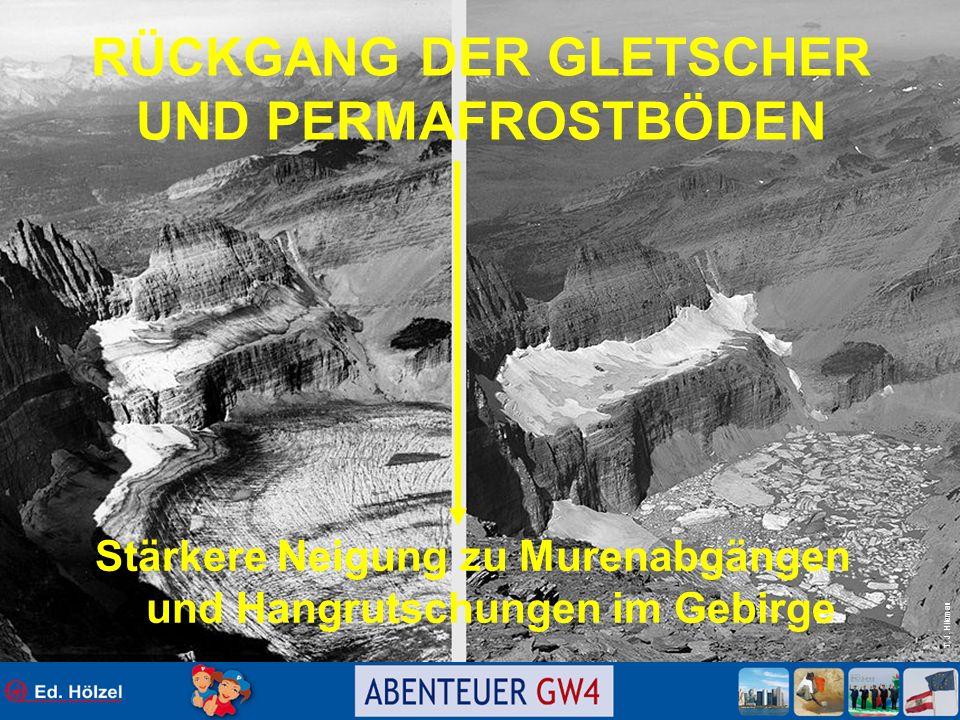 T. J. Hileman RÜCKGANG DER GLETSCHER UND PERMAFROSTBÖDEN Stärkere Neigung zu Murenabgängen und Hangrutschungen im Gebirge