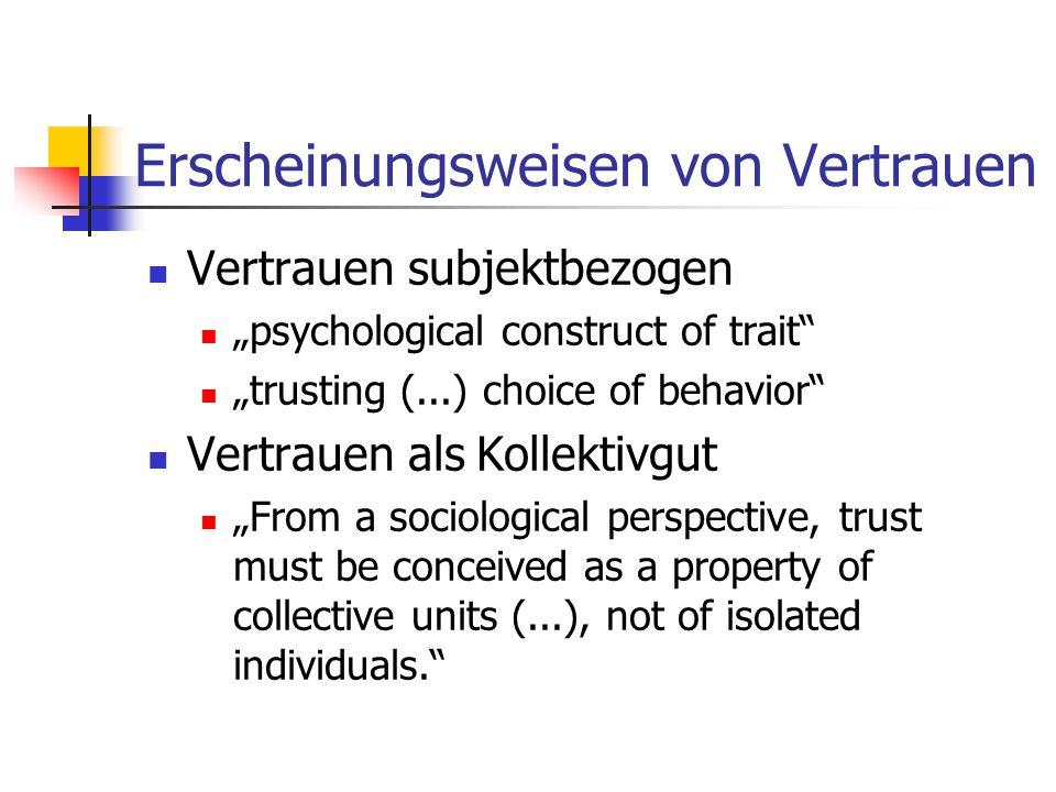 "Erscheinungsweisen von Vertrauen Vertrauen subjektbezogen ""psychological construct of trait ""trusting (...) choice of behavior Vertrauen als Kollektivgut ""From a sociological perspective, trust must be conceived as a property of collective units (...), not of isolated individuals."