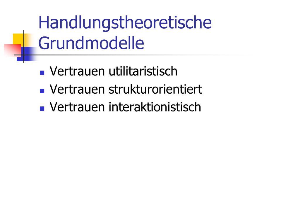 Handlungstheoretische Grundmodelle Vertrauen utilitaristisch Vertrauen strukturorientiert Vertrauen interaktionistisch