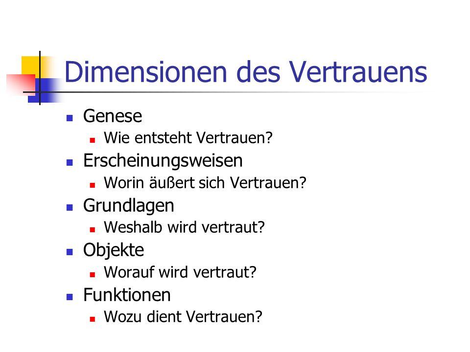 Dimensionen des Vertrauens Genese Wie entsteht Vertrauen.