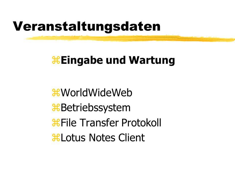 Veranstaltungsdaten zEingabe und Wartung zWorldWideWeb zBetriebssystem zFile Transfer Protokoll zLotus Notes Client