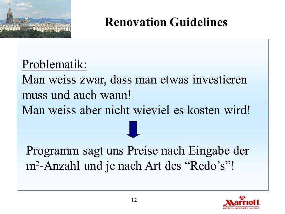 12 Renovation Guidelines Problematik: Man weiss zwar, dass man etwas investieren muss und auch wann! Man weiss aber nicht wieviel es kosten wird! Prog