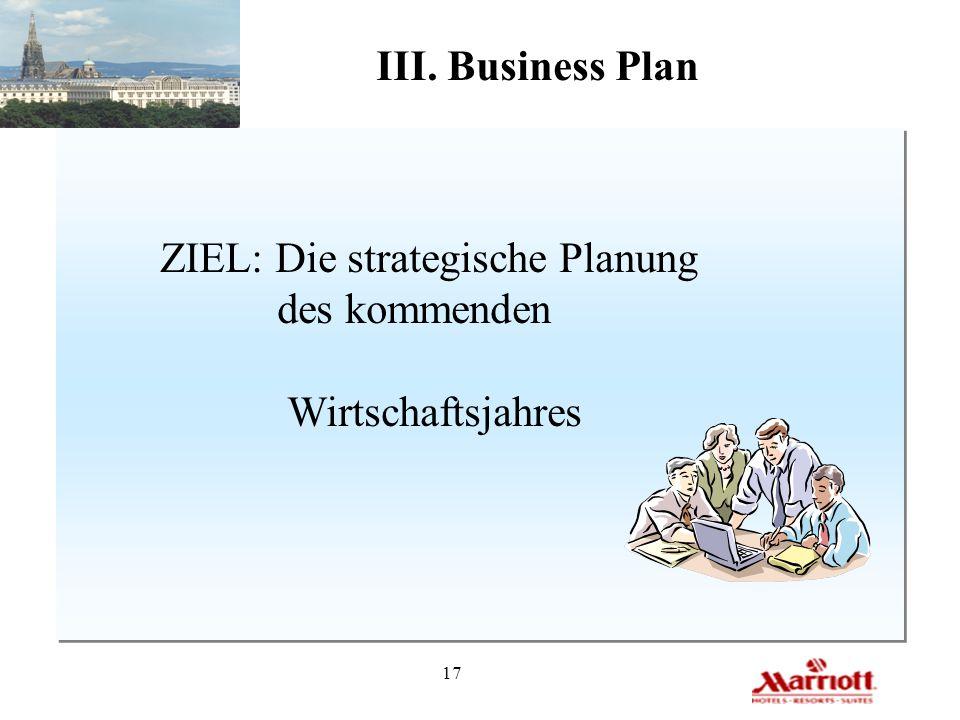17 III. Business Plan ZIEL: Die strategische Planung des kommenden Wirtschaftsjahres