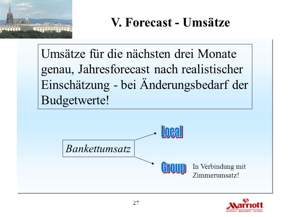 27 V. Forecast - Umsätze Umsätze für die nächsten drei Monate genau, Jahresforecast nach realistischer Einschätzung - bei Änderungsbedarf der Budgetwe