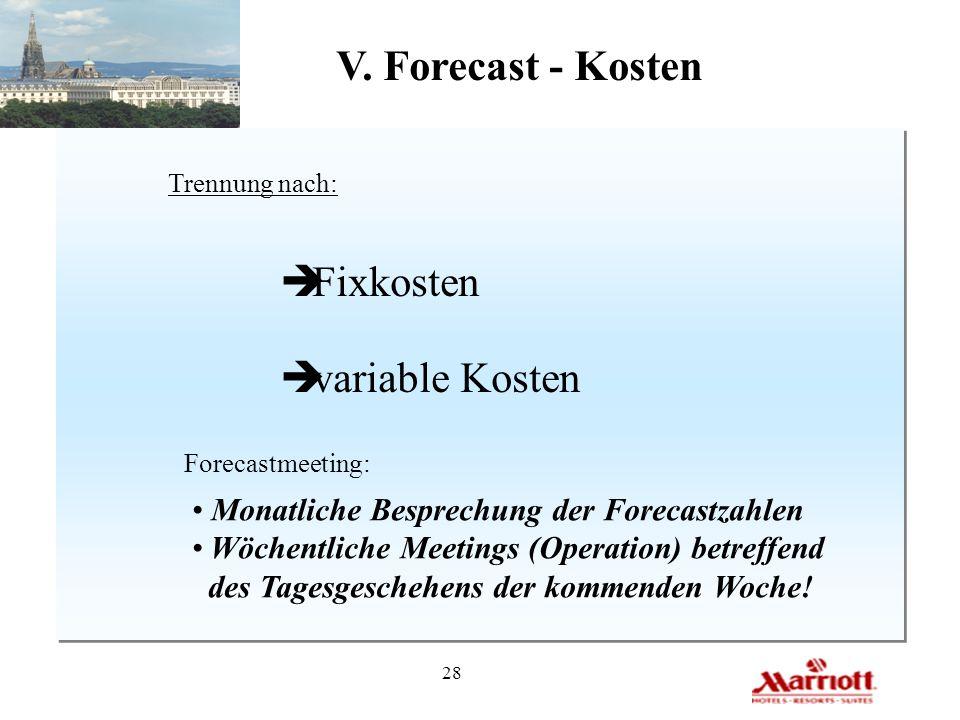 28 V. Forecast - Kosten Trennung nach: è Fixkosten è variable Kosten Forecastmeeting: Monatliche Besprechung der Forecastzahlen Wöchentliche Meetings